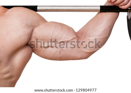 Fitness background. Male caucasian bodybuilder with big biceps holding barbell isolated on white background. - stock photo