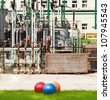 fitness balls and industrial landscape - stock photo