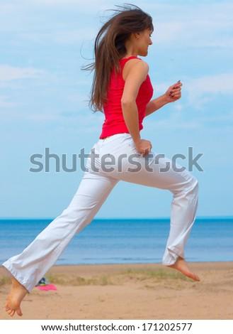 Fitness Beach Joy  - stock photo