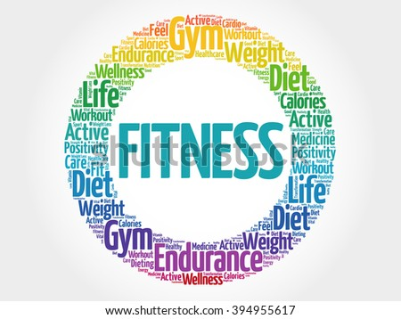 FITNESS circle stamp word cloud, fitness, sport, health concept - stock photo