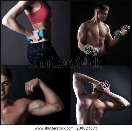Fitness collage - stock photo