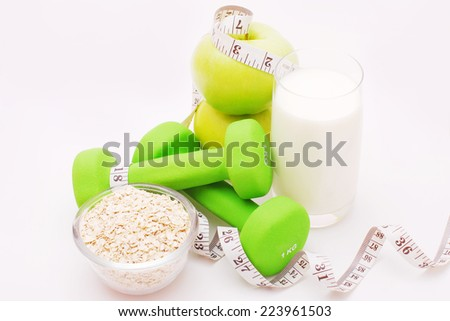 Fitness concept of a light gray background - stock photo