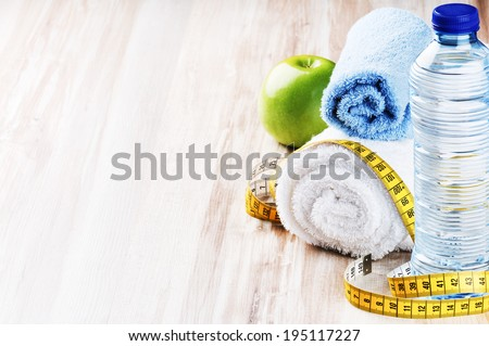 Fitness concept with healthy dieting plan - stock photo