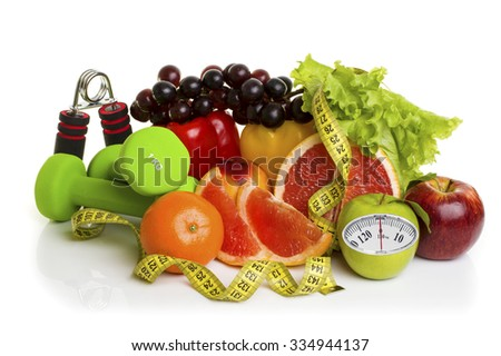 Fitness equipment, healthy food with weight scale isolated on white background. Diet concept. - stock photo