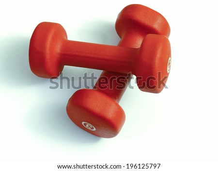 Fitness gear - Dumbbells - Red handweights - stock photo