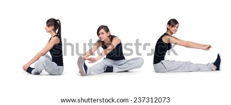fitness girl collage - stock photo