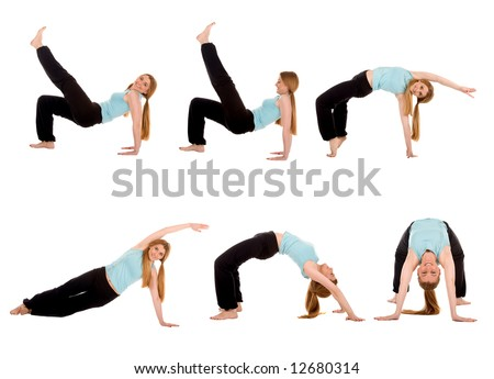 Fitness girl in multiply pose. - stock photo