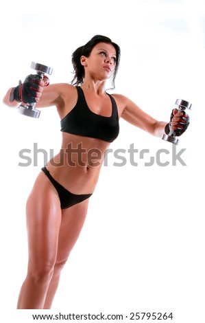 fitness girl is working out with weights - stock photo