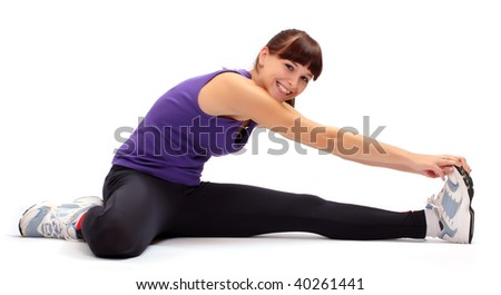 Fitness girl isolated on white - stock photo