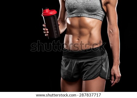Fitness girl with a shaker  - stock photo