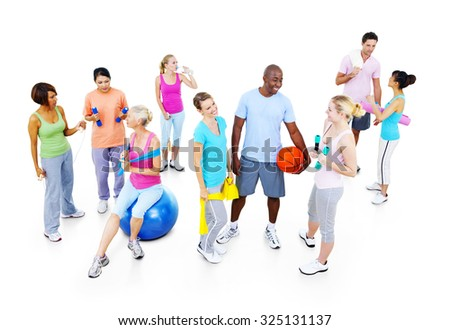 Fitness Health Gym Group Training Exercise Concept - stock photo