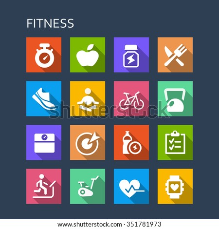 Fitness icon set - Flat Series with long shadows - stock photo