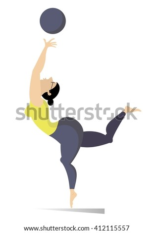 Fitness illustration.Woman do exercises with a ball  - stock photo