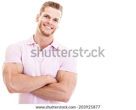 Fitness instructor with arms crossed, isolated on white  - stock photo