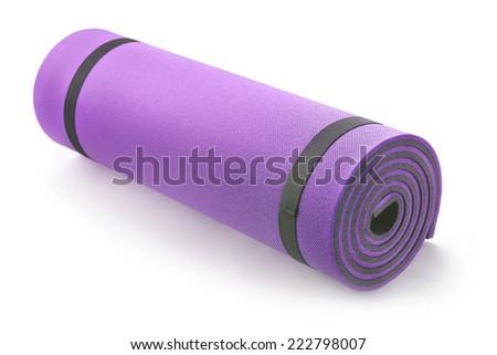 fitness insulation mat on white - stock photo