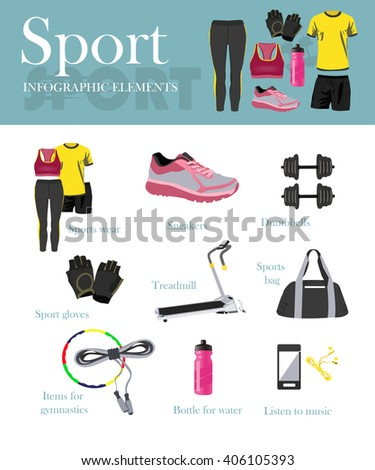 Fitness isolated icons set and banner. Sport equipment and accessories. Training concept illustration. Design elements, running clothes, phone, boots, dumbell, treadmill. Running girl. - stock photo