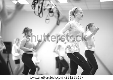 Fitness jogging program for women, monochrome - stock photo