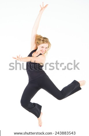 Fitness Joy Dancing Girl  - stock photo