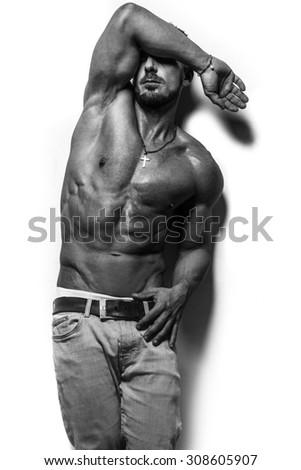 fitness male bodybuilder model with sixpack - stock photo