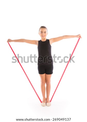 Fitness rubber resistance band kid girl exercise workout on white background - stock photo