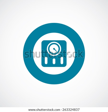 fitness scales icon bold blue circle border, white background   - stock photo