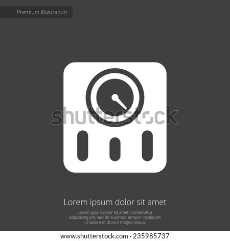 fitness scales premium illustration icon, isolated, white on dark background, with text elements  - stock photo