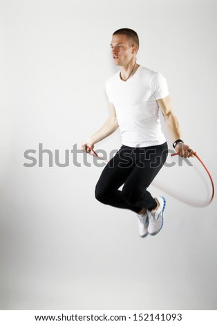 fitness speed rope - stock photo