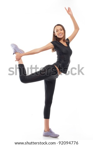 fitness trainer standing isolated over white background - stock photo