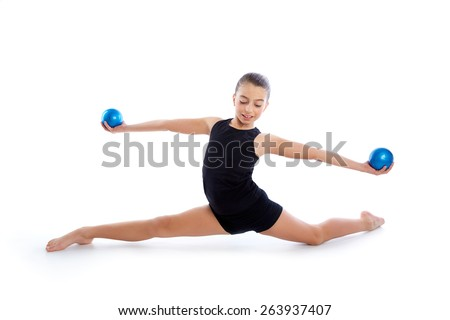 Fitness weighted Yoga Pilates balls kid girl exercise workout on white background - stock photo