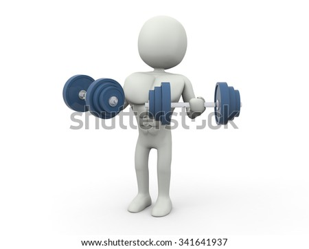 Fitness with workout dumbbells  - stock photo