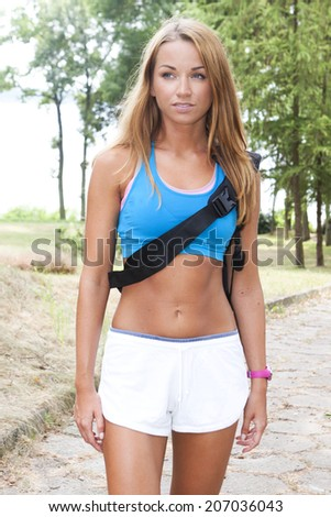 fitness woman at park  - stock photo
