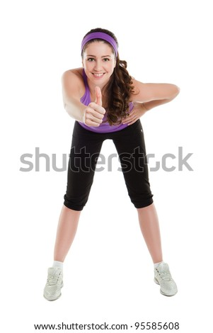 Fitness woman doing stretching exercise - stock photo