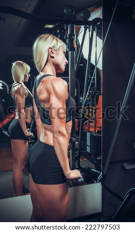 fitness woman doing triceps exercises in the gym - stock photo