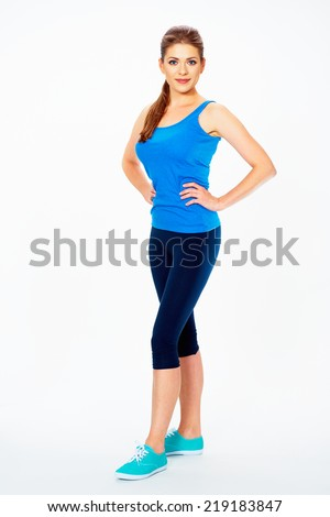 fitness woman in sport style standing against white background. isolated - stock photo