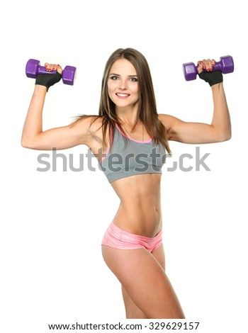 fitness woman isolated on white - stock photo