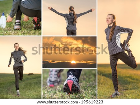 Fitness woman running collage - stock photo