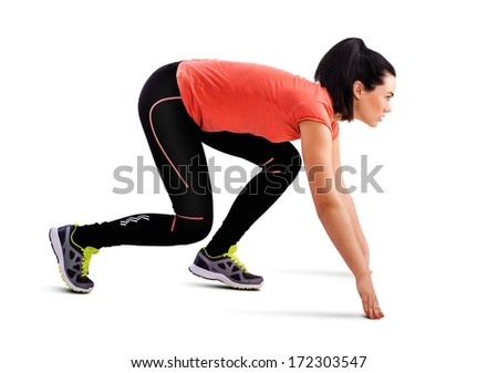 Fitness woman start running, isolated on white - stock photo