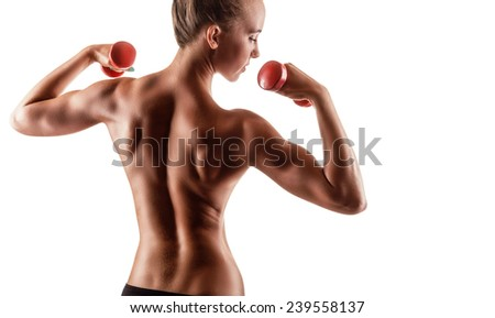 Fitness woman with dumbbells isolated on a white background. Back view - stock photo