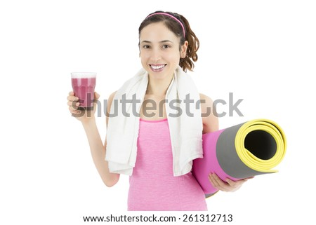 Fitness woman with smoothie - stock photo