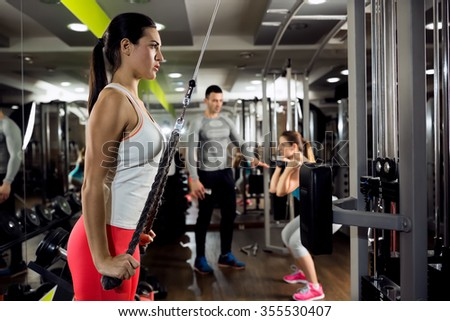 Fitness woman workout strength training with weight - stock photo