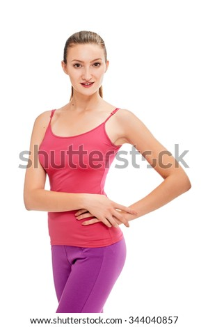 fitness woman. Young sporty Caucasian female model isolated on white background - stock photo