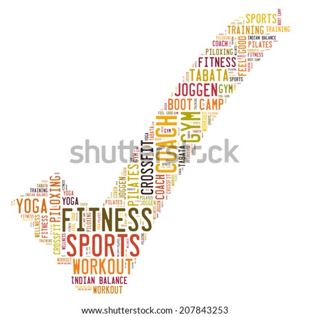 fitness word cloud - stock photo