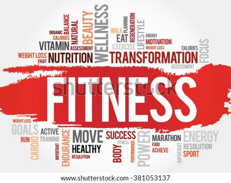 FITNESS word cloud, sport, health concept - stock photo