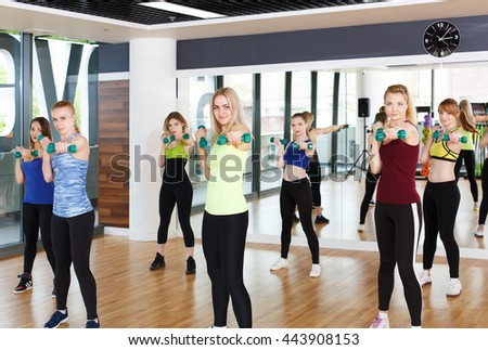 Fitness workout. Group of young women in sport club making exercises with dumbbels. Healthy lifestyle, slim sporty girls at aerobics training. - stock photo