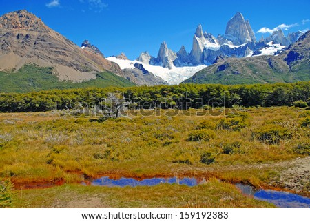 Fitz Roy Massif, Patagonia near Chalten Argentina / Chile Border - stock photo