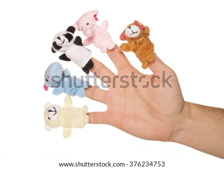 five animal finger puppets studio cutout - stock photo