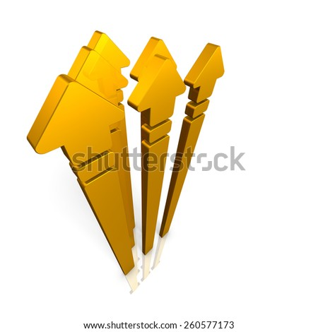 Five arrows,stretched skyward. isolated, computer generated image - stock photo