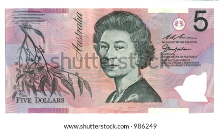 five Australia Dollars - stock photo