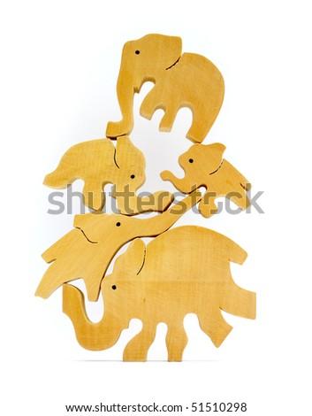 Five balancing elephants - stock photo