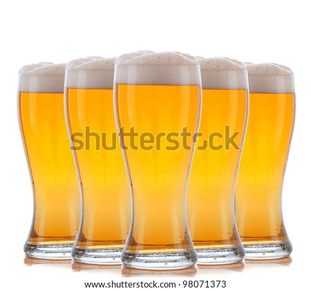 Five Beer Glasses arranged over a white background. - stock photo